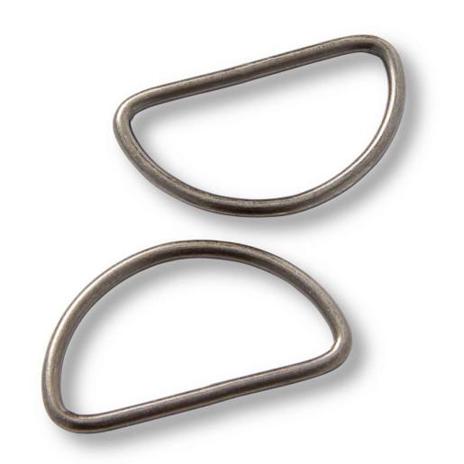 Inele semicerc pentru barete, 40 mm - Argint antichizat