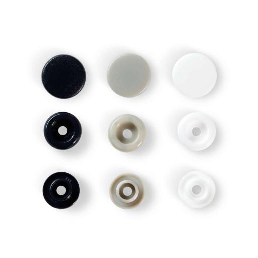 Capse colorate, 12.4 mm - bleumarin/gri/alb