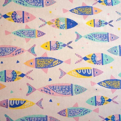 Bumbac Canvas, model Color Fishes
