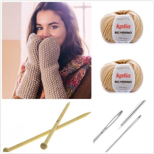 BIG MERINO - kit de tricotat mănuși fără degete