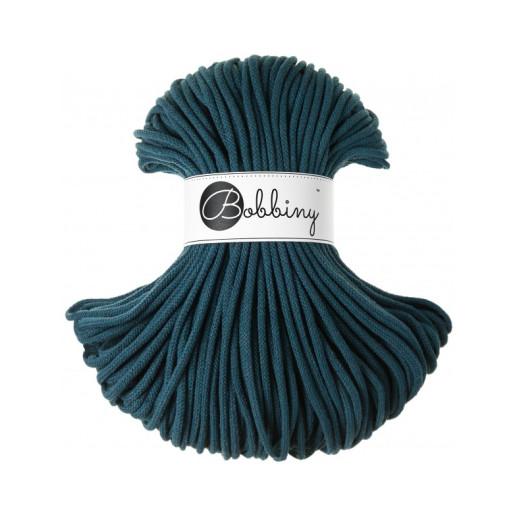 Șnur tubular clasic Bobbiny Premium, 5 mm - Albastru păun