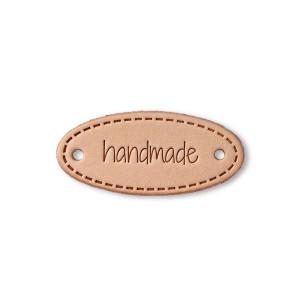 """Etichetă ovală de piele, model """"Handmade"""""""