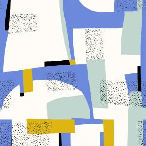 Bumbac Canvas, model Abstract Aqua