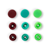 Capse colorate, 12.4 mm - verde/turcoaz/maro