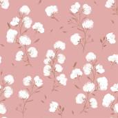 Țesătură cu dublură de polar, model Cotton Flower
